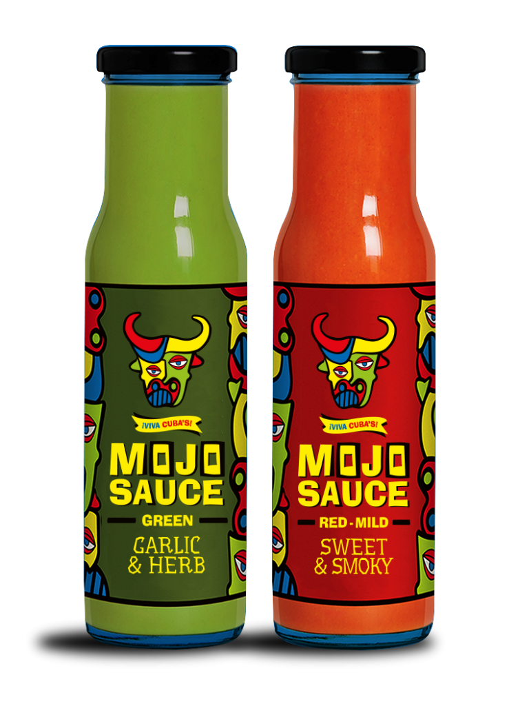 Bottles of red and green Mojo Sauce
